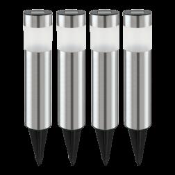 FAROL JARDIN SOLAR LED ACERO INOX PLAST TRANS SET 4 UNI EGLO