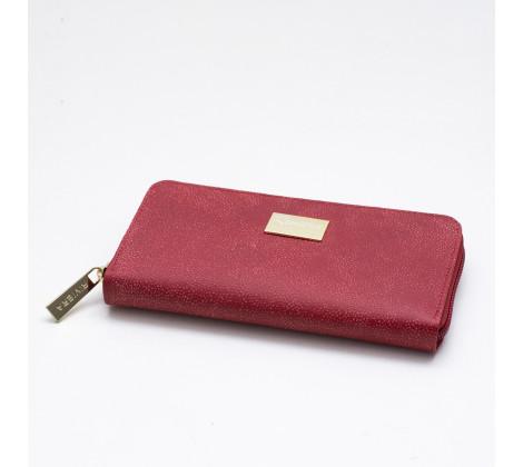 Billetera Cuero D Larga 8767 Rojo Rustico