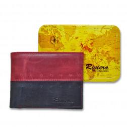 Billetera Cuero Hombre 6228 Negro/rojo