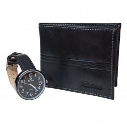 Billetera Cuero Hombre+reloj Negro