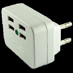 ADAPTADOR 4PTOS USB C/LUZ PILOTO BCO MEC