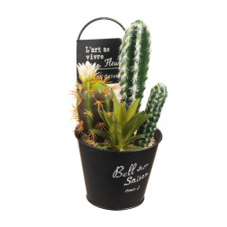 PLANTA ARTIFICIAL 4 CACTUS MACETA COLGANTE BIGHOUSE