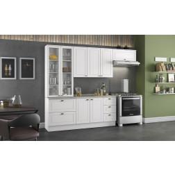 Mueble Cocina Americana Con Vitrina 272cm Blanco Henn