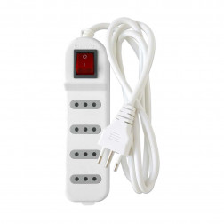 Alargador 3mt Multiple 4p Con Switch Blanco Macrotel
